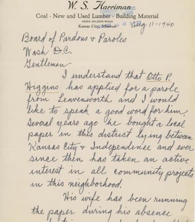 Topics correspondence corruption page 90 the pendergast years letter from w s harriman regarding the parole of otto p higgins inmate 55996 l harriman writes that higgins has done good work running his newspaper altavistaventures Gallery